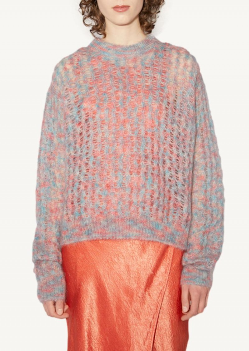 Pink and blue crew neck sweater
