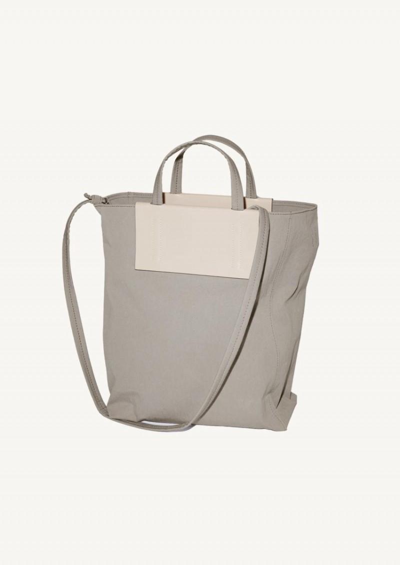 Grey and beige medium tote bag