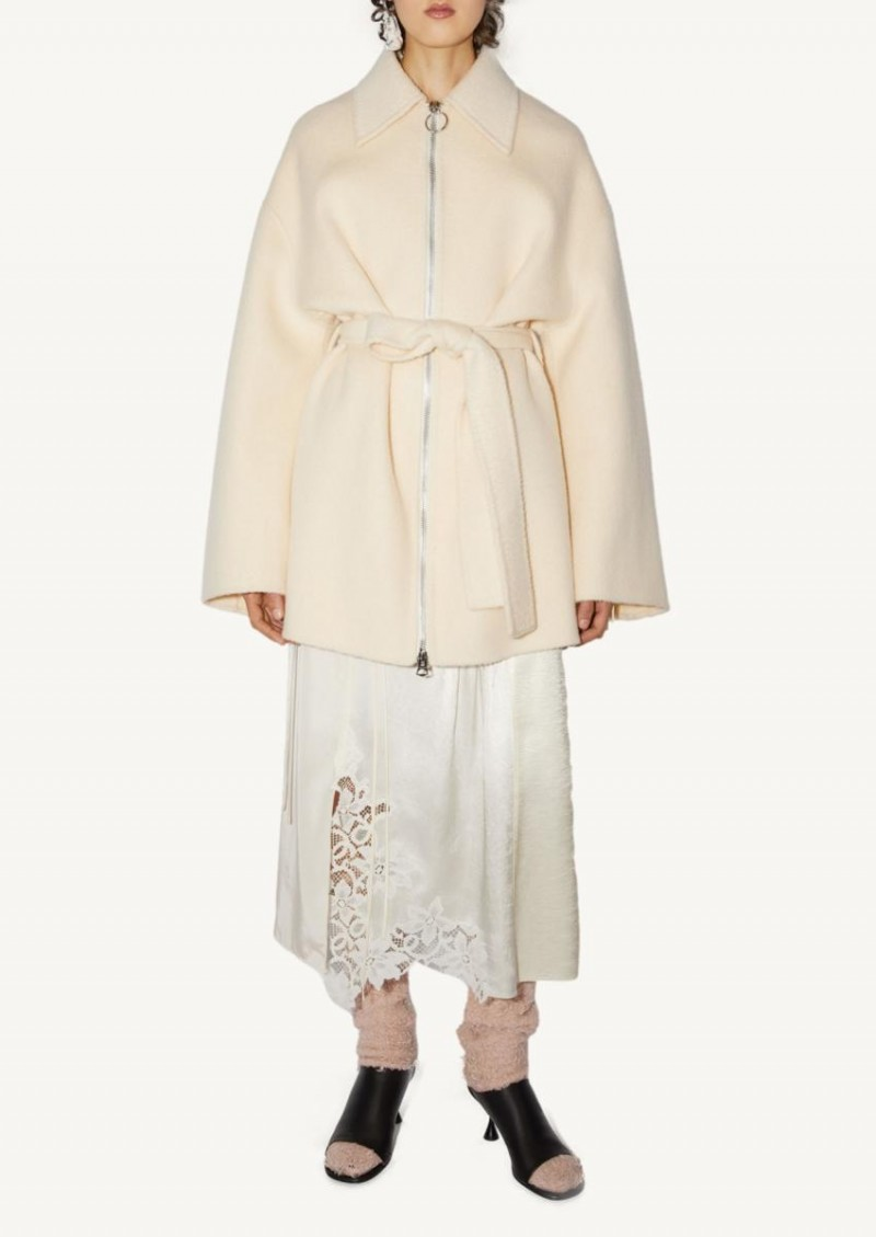 Ecru beige centered coat