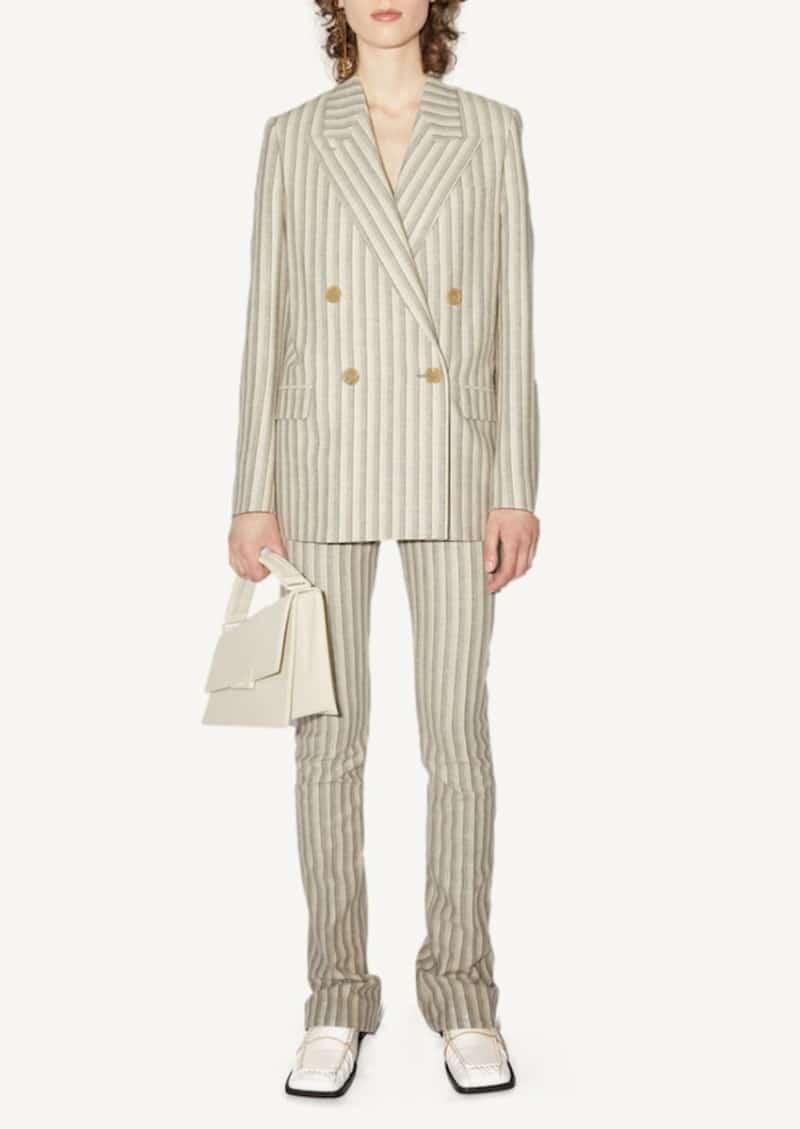 Veste de tailleur à rayures blanche et grise