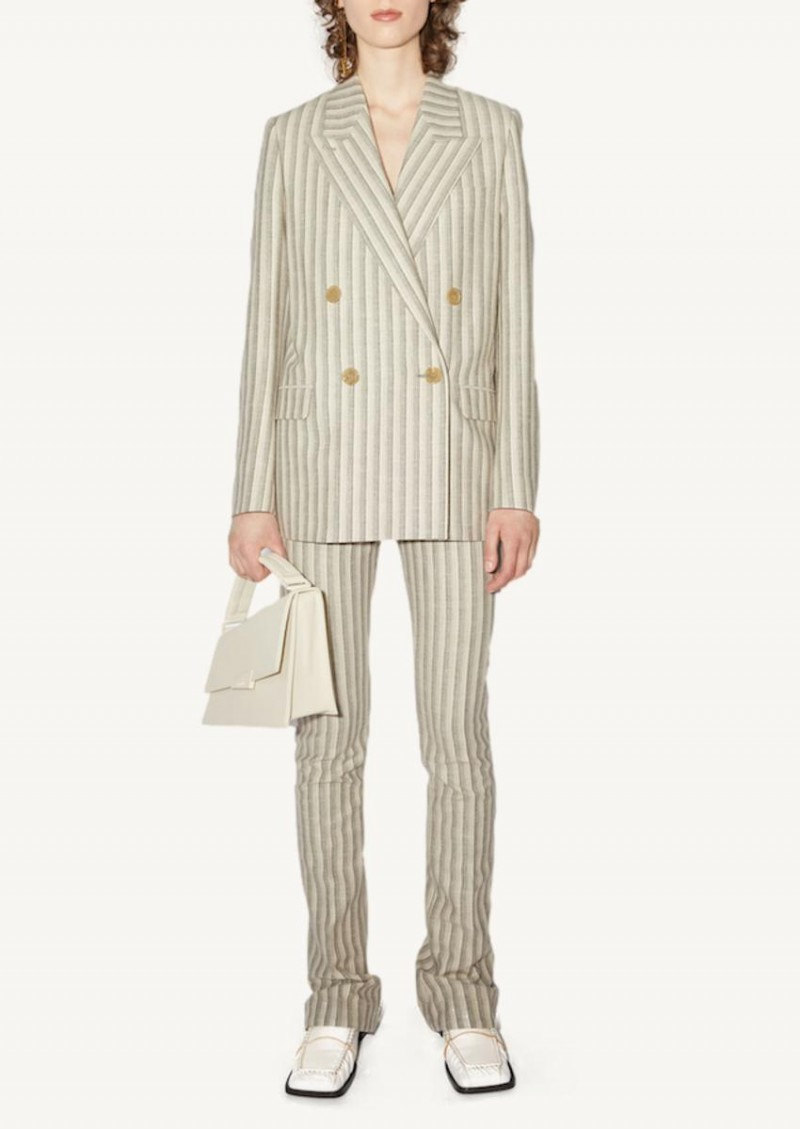 White and grey striped suit jacket