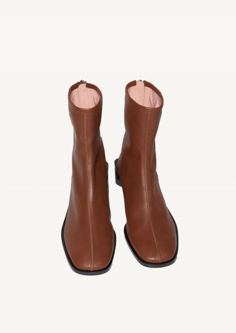 Brown and black Branded leather boots