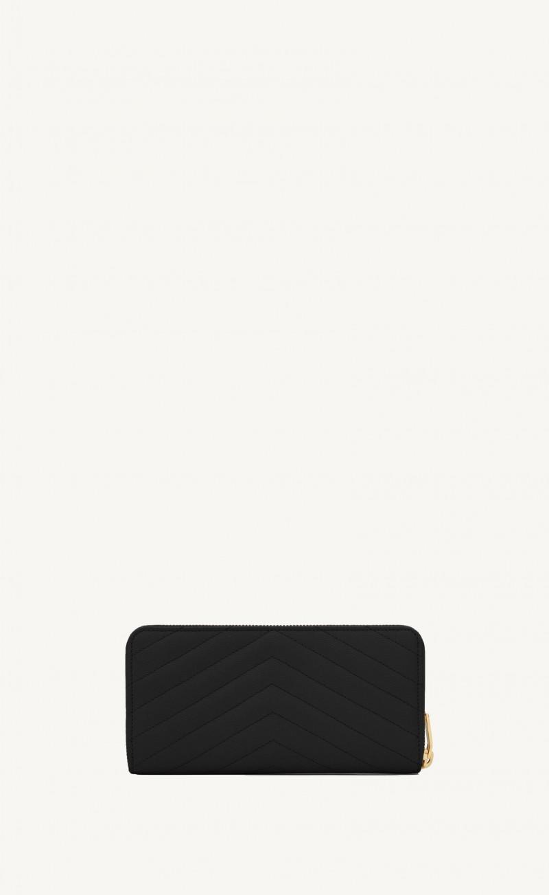 Portefeuille classique monogramme noir finition or