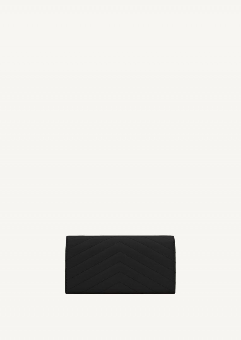 Black large monogrammed flap wallet with gold finish
