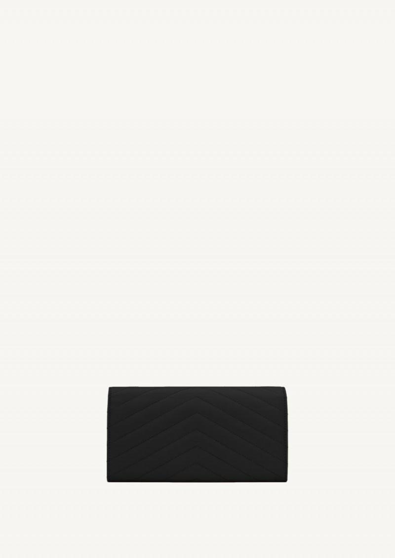 Grand portefeuille à rabat monogramme noir finition or