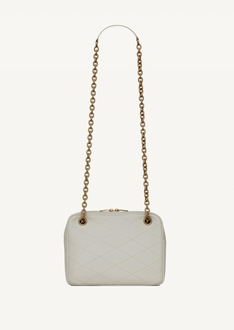 Crema soft Le Maillon small chain bag in quilted leather