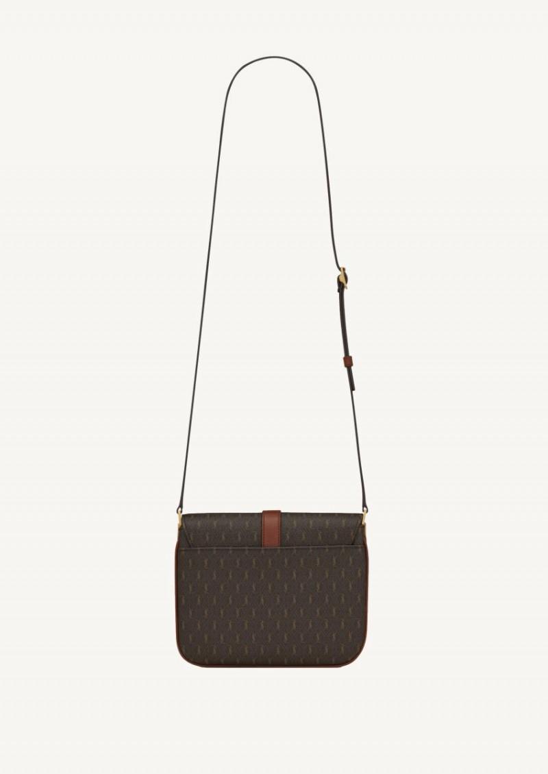 Le monogramme small satchel en toile et cuir chataigne