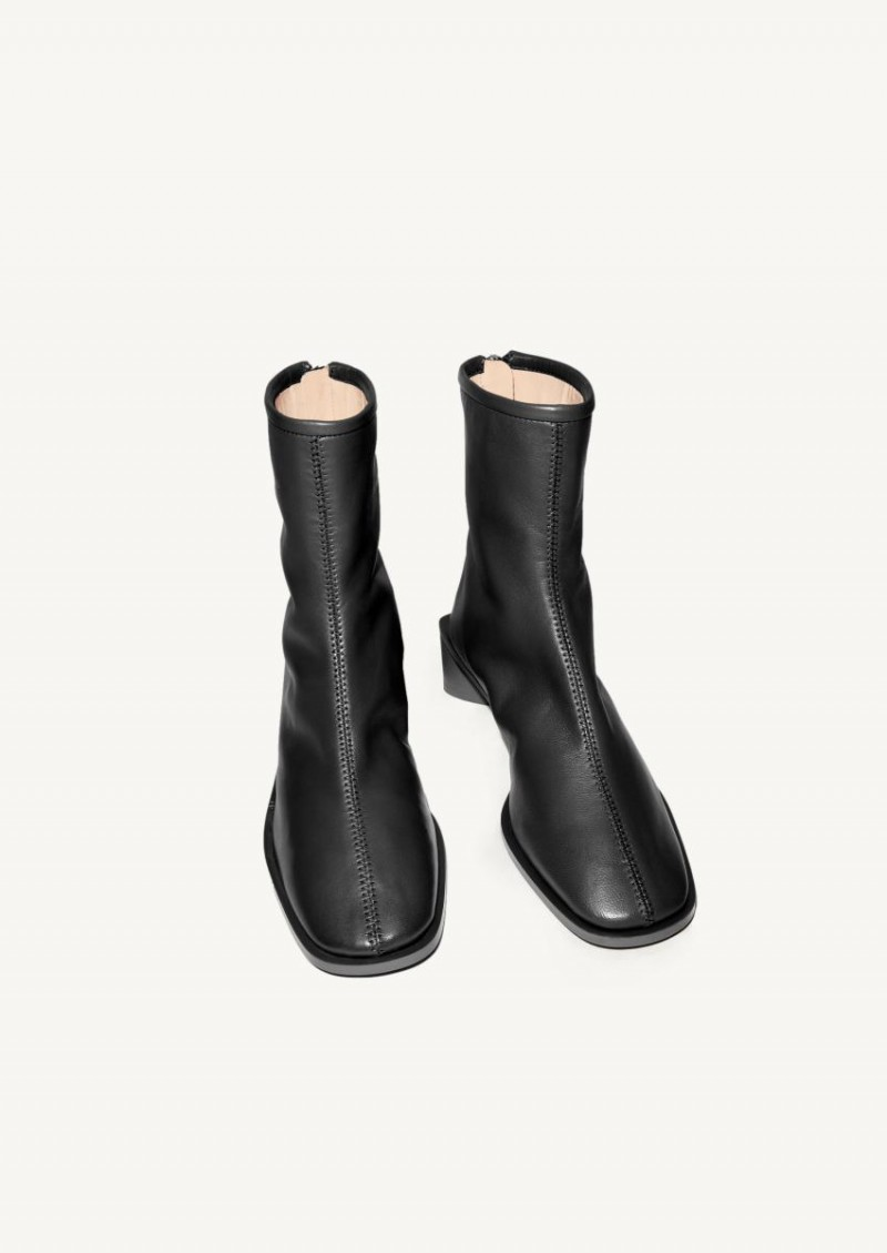 Black Branded leather boots