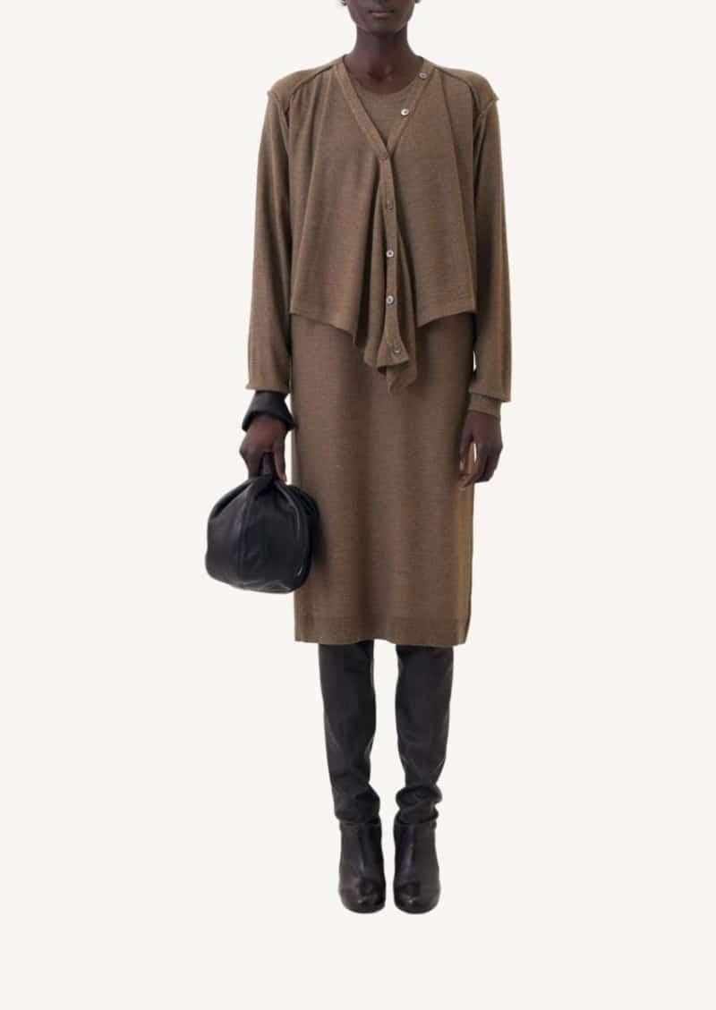 Robe cardigan à double col tricoté marron