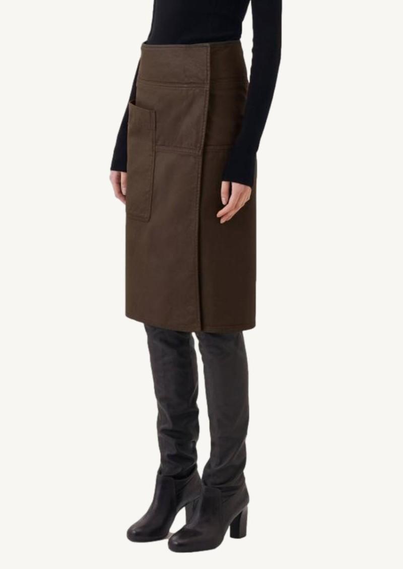 Brown coated denim apron skirt