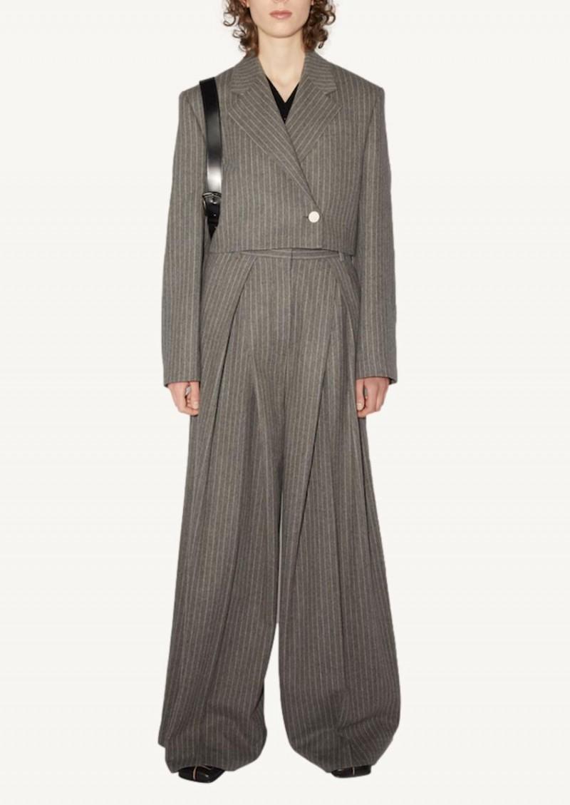 Pantalon large gris et beige