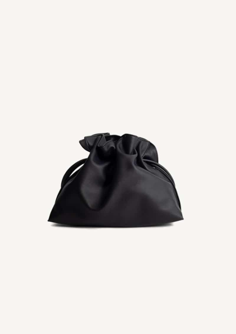 Pochette flamenco en cuir de veau nappa noir