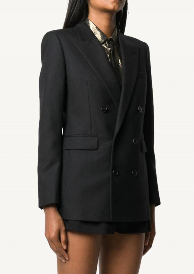 Veste blazer à double boutonnage noire