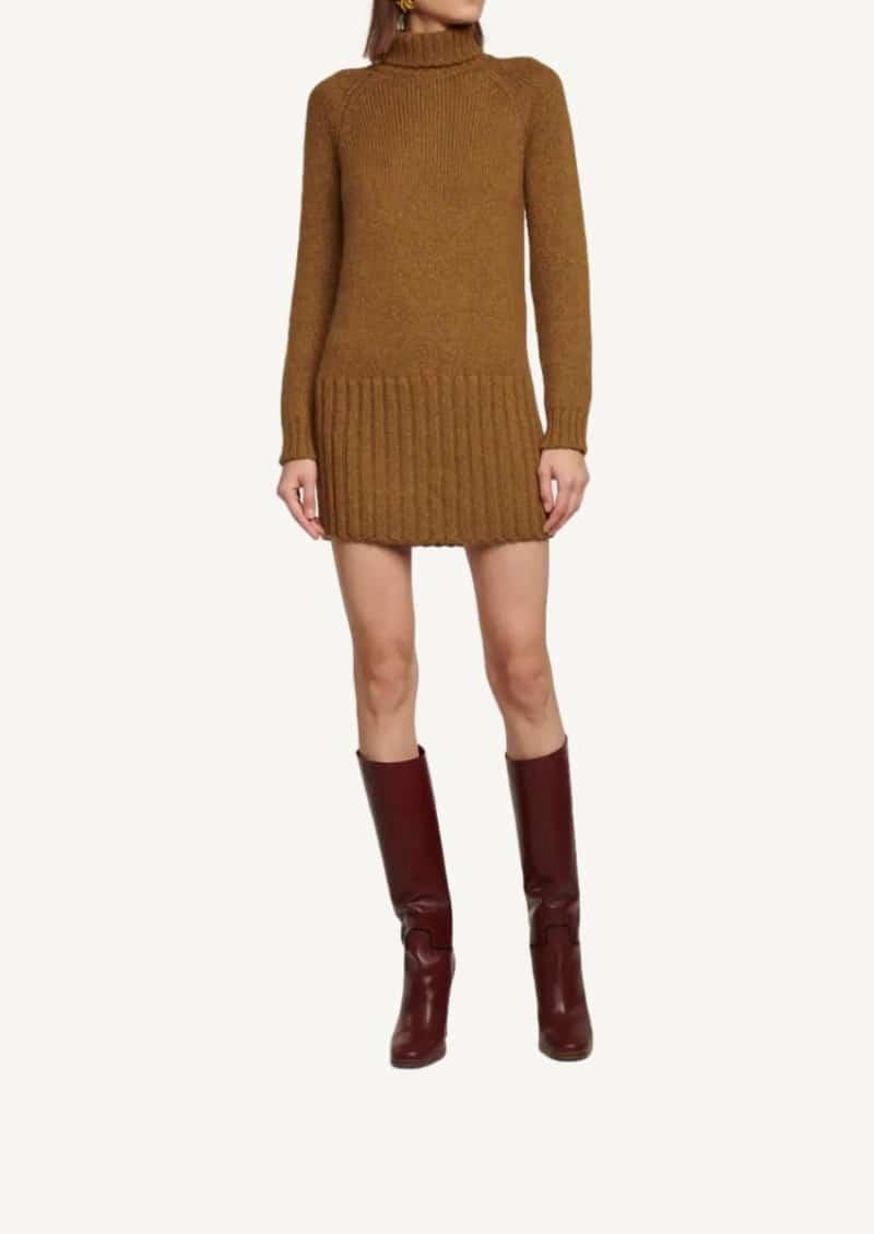 Camel alpaca sweater dress