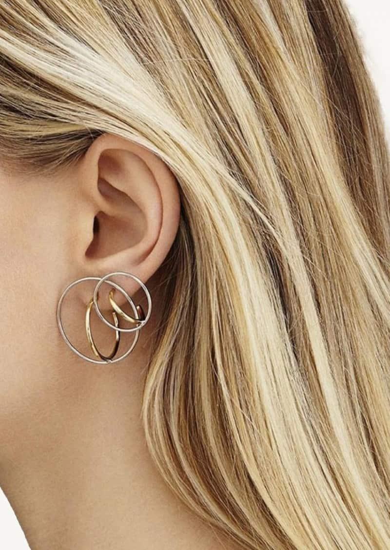 Boucles d'oreilles Saturn S jaune vermeil et argent