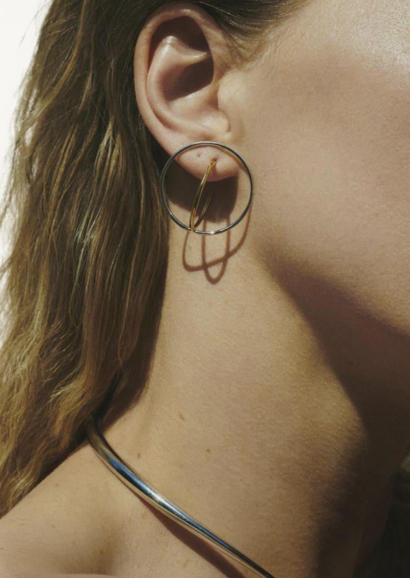 Boucles d'oreilles Saturn M jaune vermeil et argent