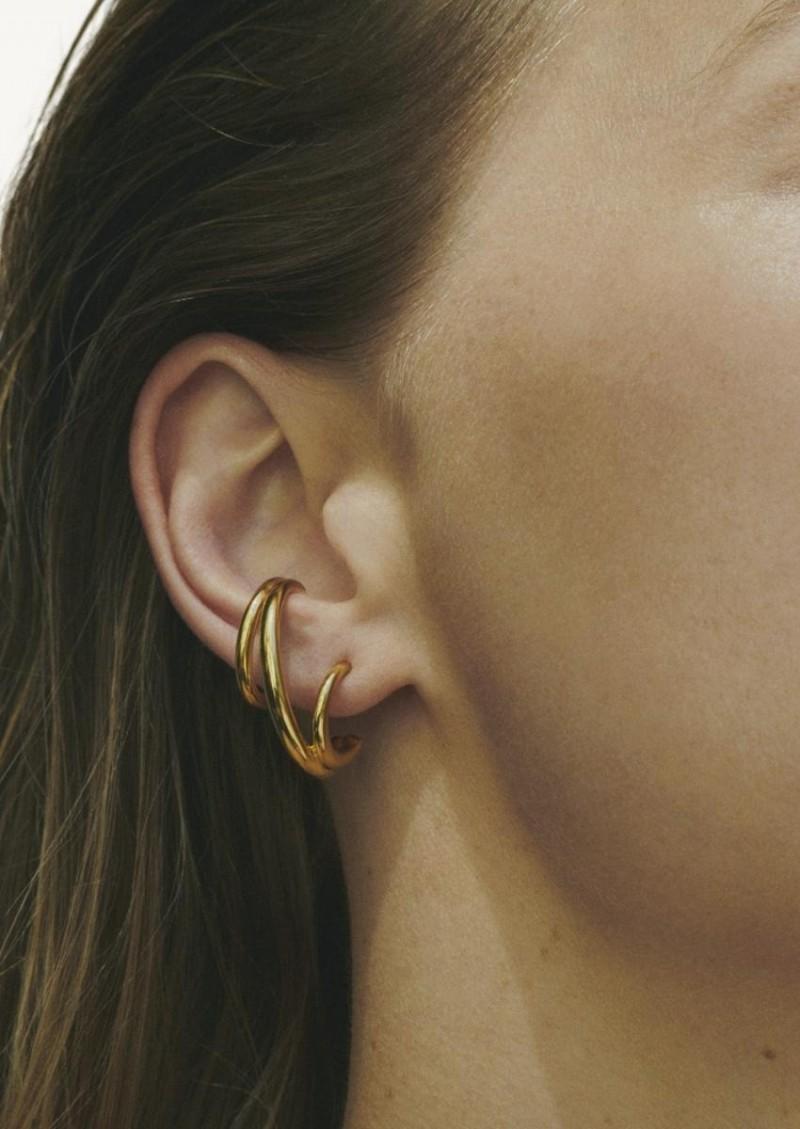 Boucle d'oreille Triplet jaune vermeil et argent